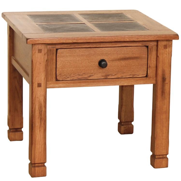 Rustic Oak End Table w/ Slate Top