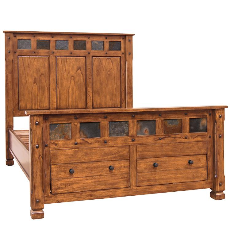 Rustic Oak & Slate Queen Slate Inlaid Bed