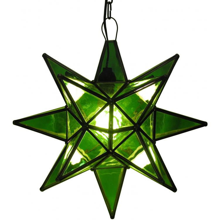 Tin Green Glass Star Product Photo