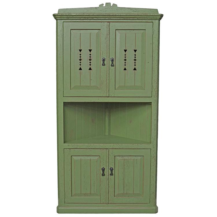 Corner Cabinet Green Red Under Product Photo