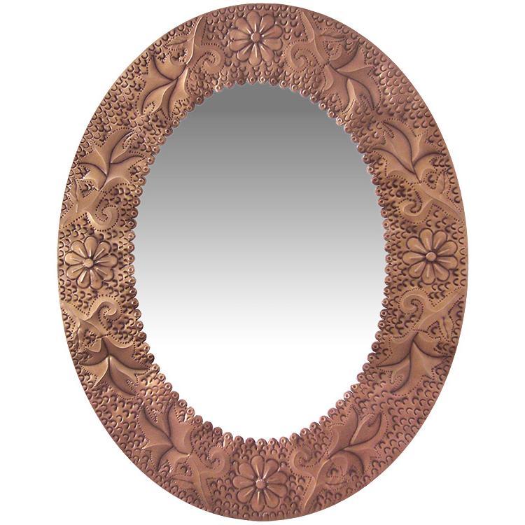 Oval Tin Mirror Oxidized Product Photo