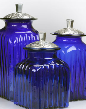 Glass and Pewter Canisters