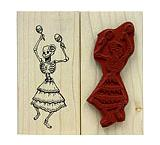 Dancing Skeleton Rubber Stamp