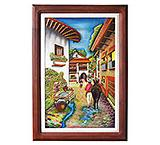 Campesino y Burro Carved Relief Painting