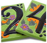 Talavera House Numbers: Green Floral