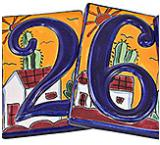 Talavera House Numbers: Desert Sunset