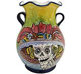 Day of the Dead Majolica Vase