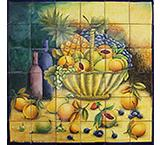 Large Fruit Basket Majolica Tile Mural
