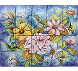 Hummingbirds Majolica Tile Mural
