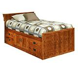 American Mission Oak Twin Chest Bed w/ Headboard