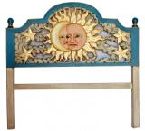 Blue Eclipse Carved Headboard