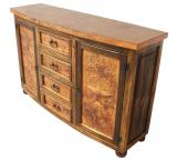 Curved Star Console w/ Copper Doors & Drawers