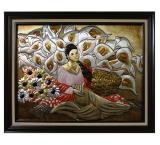 Vendadora de Flores Metal Relief Painting