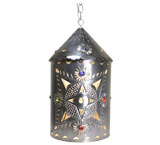 Toluca Lantern w/Marbles: Natural Finish