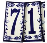 Tile House Numbers: Cobalt Blue and White