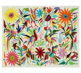 Aves y Flores Rectangular Otomi Tapestry