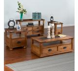 Rustic Oak Slate Top Table Set