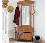 Rustic Oak Hall Tree w/ Storage Bench