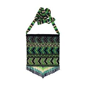Beaded Purse: Green, Gold & Black