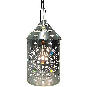 Merida Lantern w/Marbles: Natural Finish
