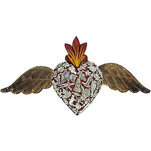 Red Winged Heart with Silver Milagros
