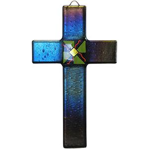 Fused Glass Cross with Violet Iridescent Glass