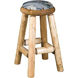 Tall Upholstered Log Pub Stool