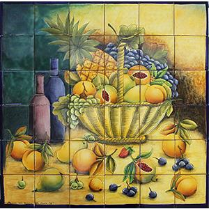Large Fruit BasketMajolica Tile Mural
