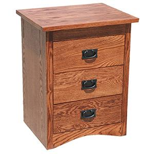 American Mission Oak Small 3 Drawer Nightstand