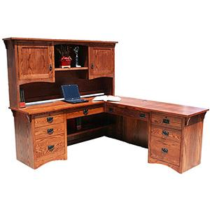 American Mission OakL-Shaped Desk w/ Hutch