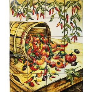 Chili Harvest Majolica Tile Mural