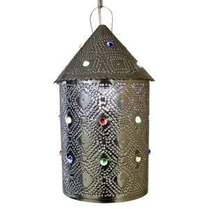 Colorado Lantern w/Marbles: Natural Finish