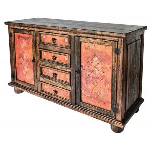 Two Door Sideboard w/ Copper Doors & Drawers