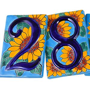 Talavera House Numbers:Blue Sunflowers