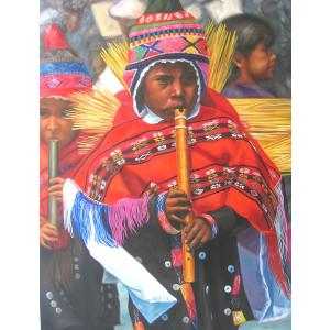 Flautisto Peruano Oil Painting on Canvas