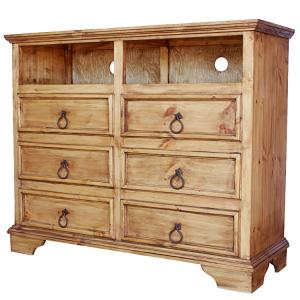 rustic pine collection six drawer tv stand com57 13043 | 1443559276 com57a