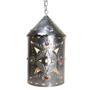 Toluca Lantern w/Marbles:Natural Finish