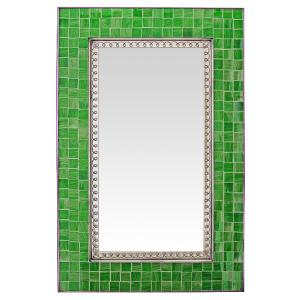 Glass Tile Mirror w/ Green Glass Tiles