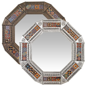 Octagonal Tile Mirror w/ Multi-colored Tiles