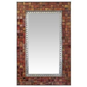 Glass Tile Mirrorw/ Brown & Tan Glass Tiles
