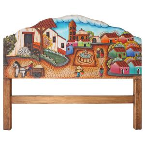 Pueblo Scene # 2 Carved Headboard