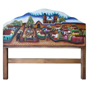 Pueblo Scene # 1 Carved Headboard