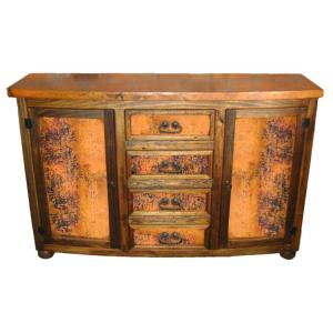 Curved Consolew/ Copper Doors & Drawers