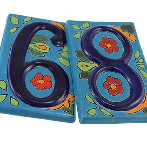 Talavera House Numbers: Blue Floral