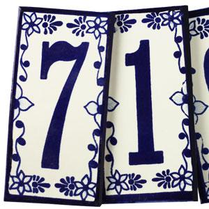 Tile House Numbers:Cobalt Blue and White
