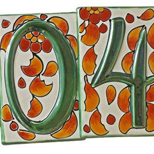 Talavera House Numbers:Fall Flowers