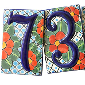 Talavera House Numbers: Red Blossoms