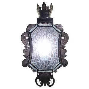 Corona Wall Sconce w/Crackled Glass