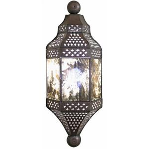 Moroccan Wall Sconce w/Antiqued Glass