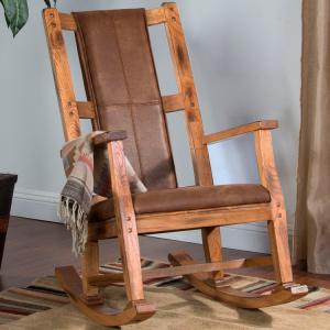 Rustic OakRocker w/ Microfiber Cushion
